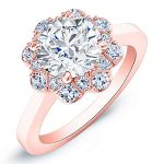 Coral Bells – Round Halo Diamond Ring