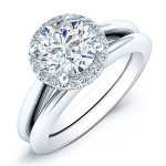 Calla Lily – Round Halo Diamond Wedding Set