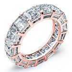 7 Carat Asscher Cut Diamond Eternity Band Si H