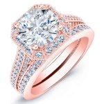 Wallflower – Princess Halo Diamond Wedding Set