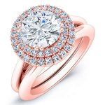 Tulip – Round Halo Diamond Wedding Set