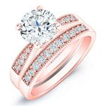 Poppy – Round With Sidestones Diamond Wedding Set