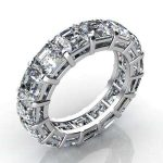 2.5 Carat Asscher Cut Diamond Eternity Band Vs2 F
