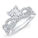 Camellia – Princess With Sidestones Diamond Wedding Set