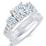Belladonna – Princess With Sidestones Diamond Wedding Set
