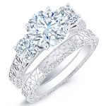 Belladonna – Round With Sidestones Diamond Wedding Set