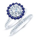 Gazania – Round With Sidestones Diamond Wedding Set