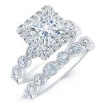 Aubretia – Princess With Sidestones Diamond Wedding Set