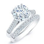 Iberis – Round With Sidestones Diamond Wedding Set