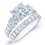 Angelonia – Princess With Sidestones Diamond Wedding Set