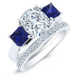 Ilex – Cushion With Sidestones Diamond Wedding Set