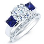 Ilex – Round With Sidestones Diamond Wedding Set