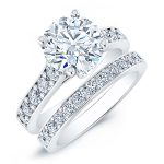 Calluna – Round With Sidestones Diamond Wedding Set