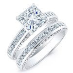 Peony – Princess With Sidestones Diamond Wedding Set