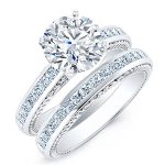 Peony – Round With Sidestones Diamond Wedding Set