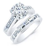Yarrow – Round With Sidestones Diamond Wedding Set