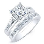 Bergamot – Princess With Sidestones Diamond Wedding Set