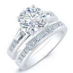 Bergamot – Round With Sidestones Diamond Wedding Set