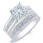 Edelweiss – Princess With Sidestones Diamond Wedding Set