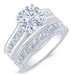 Edelweiss – Round With Sidestones Diamond Wedding Set
