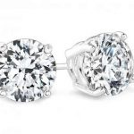 3 Carat Round Diamond Studs Earrings Si H