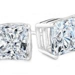 2 Carat Princess Diamond Studs Earrings Si H