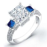 Customized Ring: .98ct Princess Cut Diamond Engagement Rings With 2 Sa