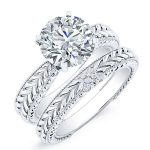 Azalea – Round Solitaire Diamond Wedding Set