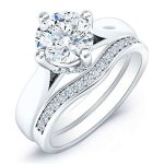 Gardenia – Round With Sidestones Diamonds Wedding Set