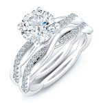 Iris – Round With Sidestones Diamond Wedding Set