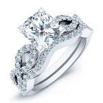 Camellia – Cushion With Sidestones Diamond Wedding Set