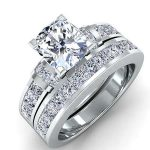 Ivy – Cushion With Sidestones Diamond Wedding Set