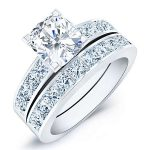 Ayana – Cushion With Sidestones Diamond Wedding Set