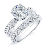 Azalea – Cushion Solitaire Diamond Wedding Set